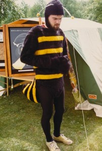 Derek dressed as bumblebee