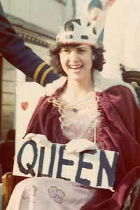 Sarah dressed as the Queen at a student parade