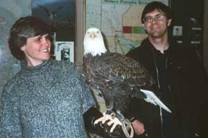 Sarah and Derek with a bald eagle called Leuc