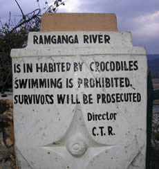Crocodile sign in India reads 'Ramganga River is inhabited by crocodiles. Swimming is prohibited. Survivors will be prosecuted.'