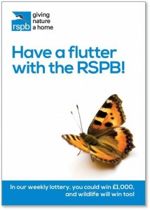 leaflet promoting RSPB weekly lottery