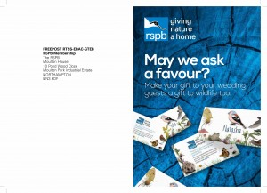 RSPB leaflet promoting pin badges as wedding favours.