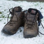 Derek's boots in snow