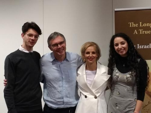 Derek and Noemie Lopian with the Jewish Society at Manchester University, January 2019.